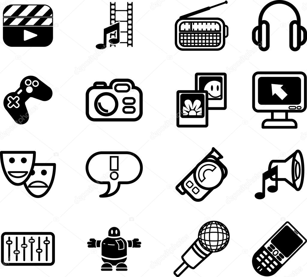 icons relating to various types of media  u2014 stock vector  u00a9 krisdog  6576734