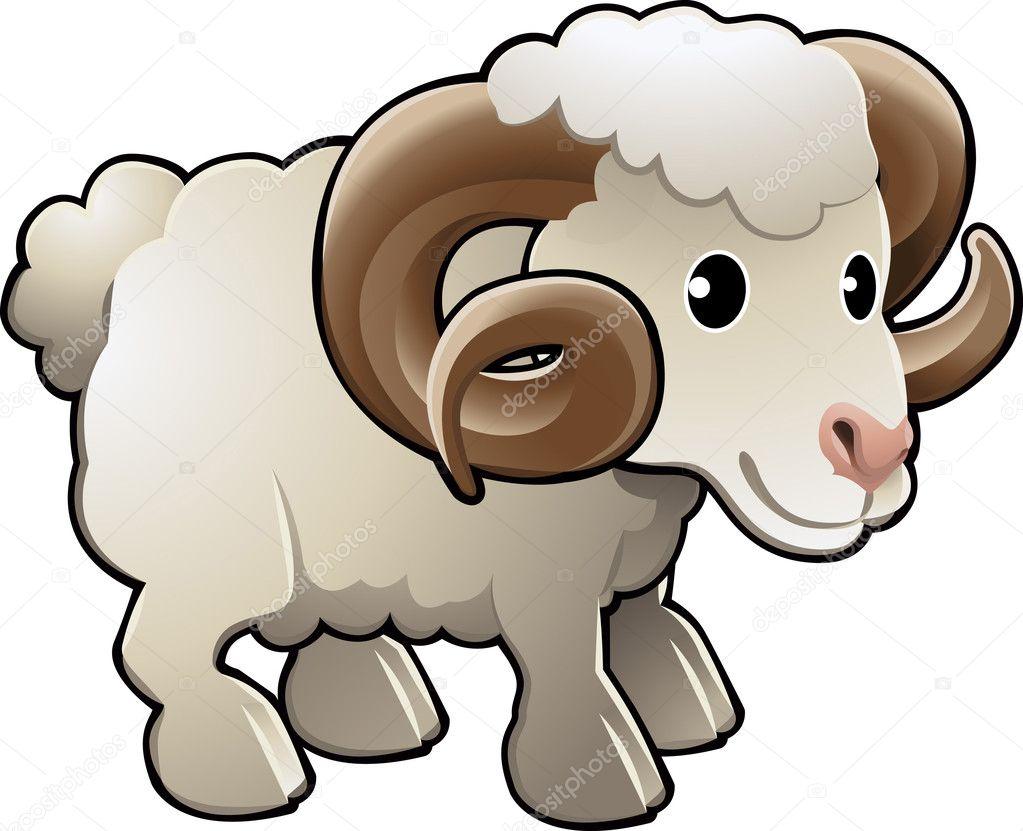 cute ram sheep farm animal vector illustration u2014 stock vector