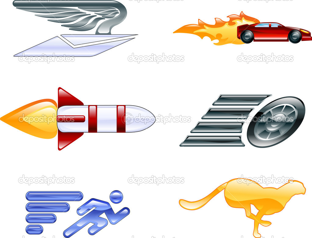 Shiny speed and efficiency concept icons