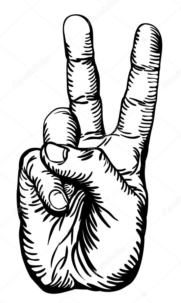 victory salute or peace sign