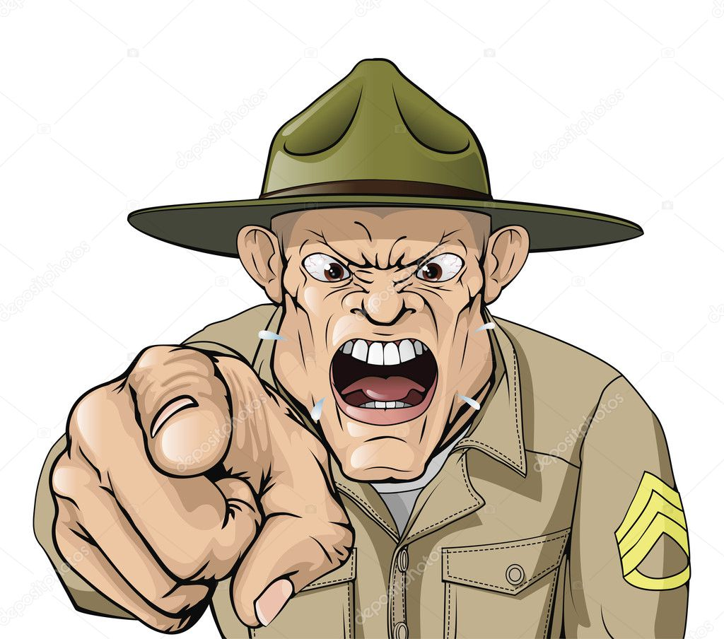 Cartoon angry army drill sergeant shouting