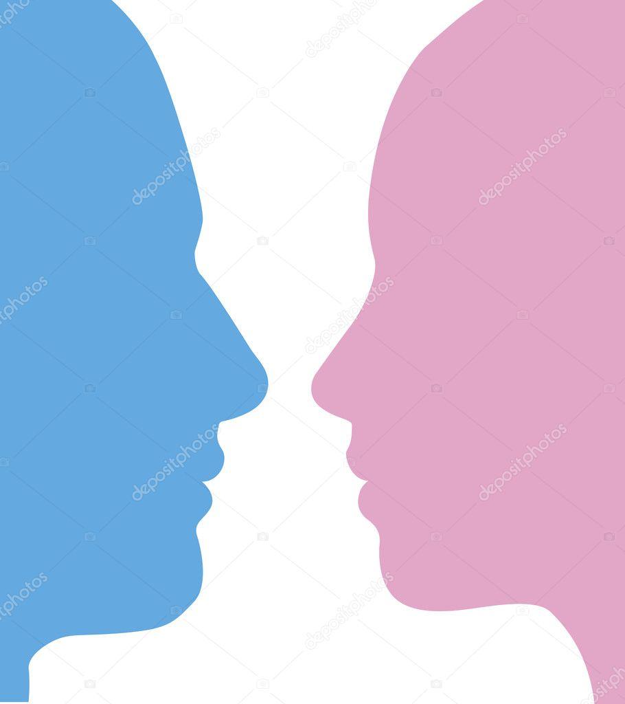 Man And Woman Faces Silhouette Stock Vector C Krisdog 6579290