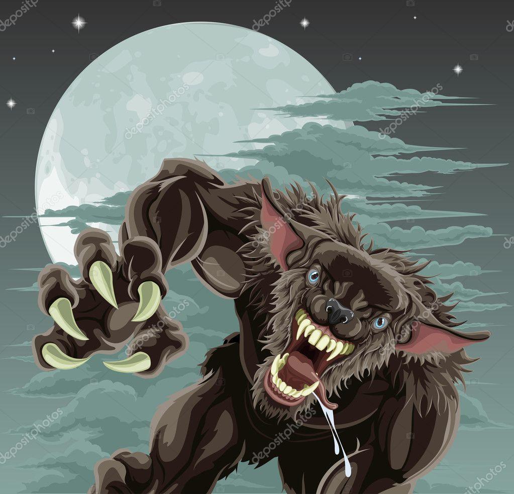 En skrämmande varulv framför månbelysta himlen. Halloween bild — Vektor av  Krisdog ef1b6f6f536e5