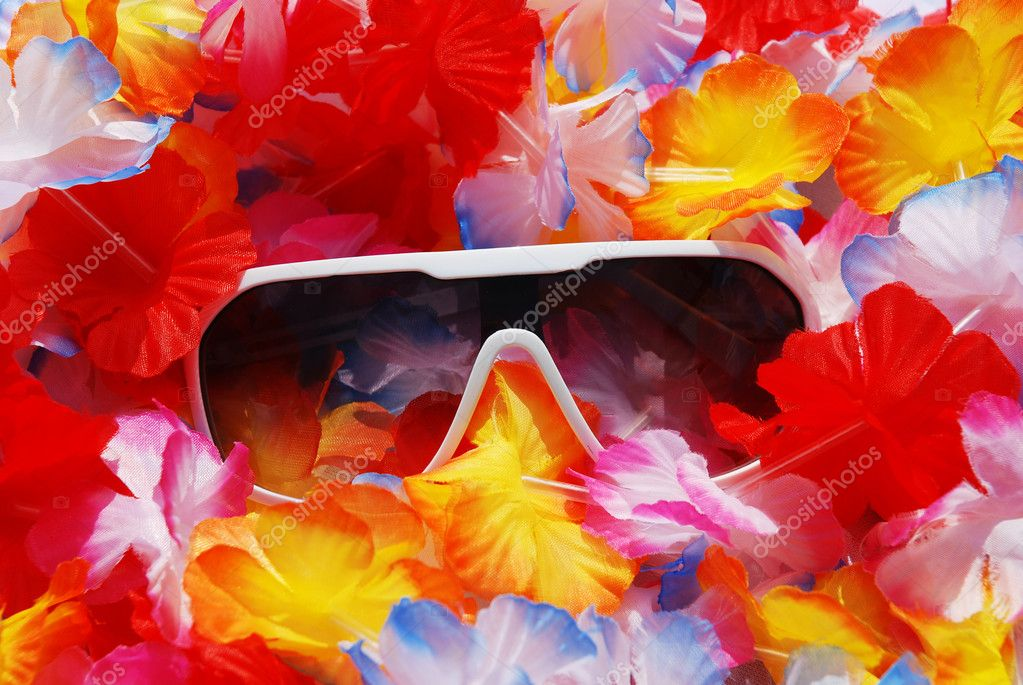 Celebration Background With Tropical Lei and Sunglasses
