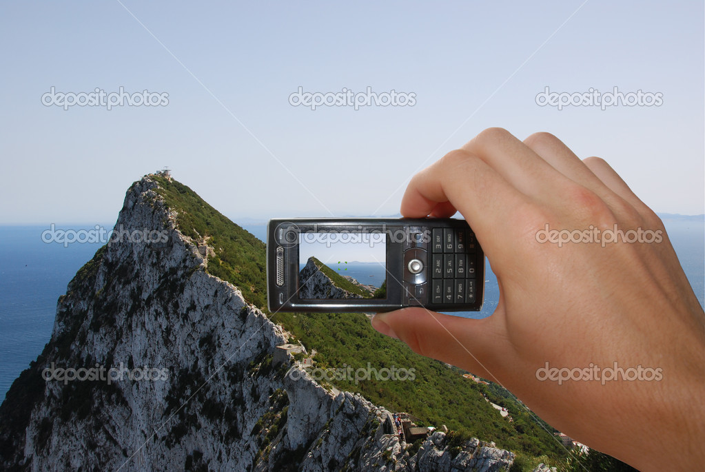 Tourist Taking Picture Of Gibraltar Rock