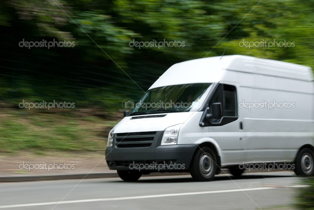 White Van Moving Fast