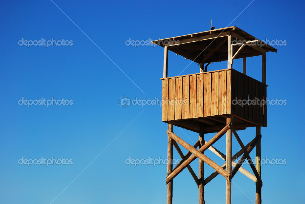 Empty Observing Stand On Beach