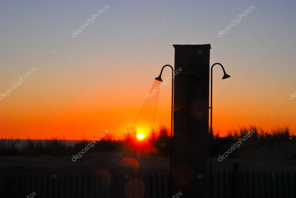 Outdoor Shower At The Beach DUring Sunset