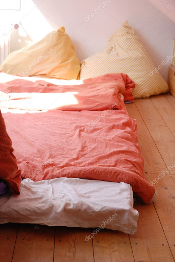 Cosy Bed On Floor With Huge Pillows