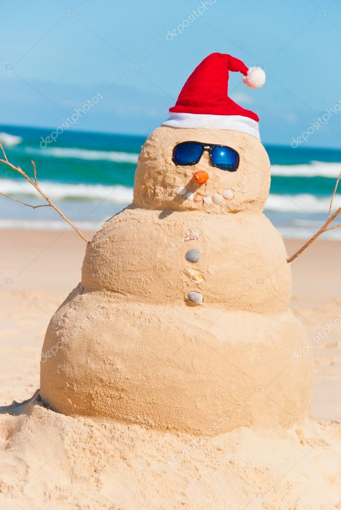 Happy Snowman Enjoying The Sun & The Sea