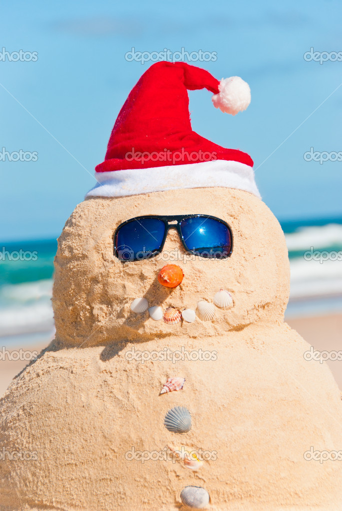 Portrait Of Perfect Snowman On Beach