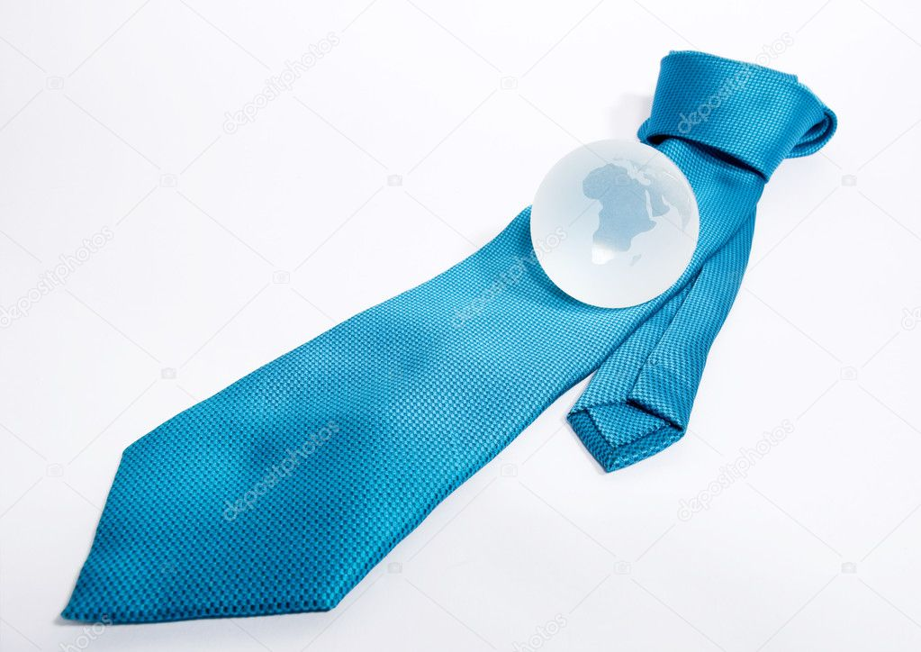 Blue Business Tie Knotted With Glass Globe On Top
