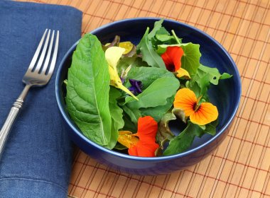 Healthy organic green salad with edible flowers