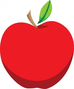 Bright Red Apple Illustration