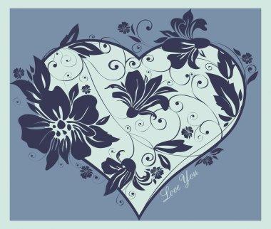 Wedding invitation, heart flowers