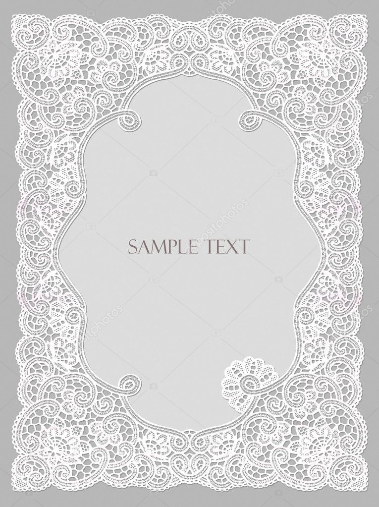cute wedding invitation card with lace frame photo by art321