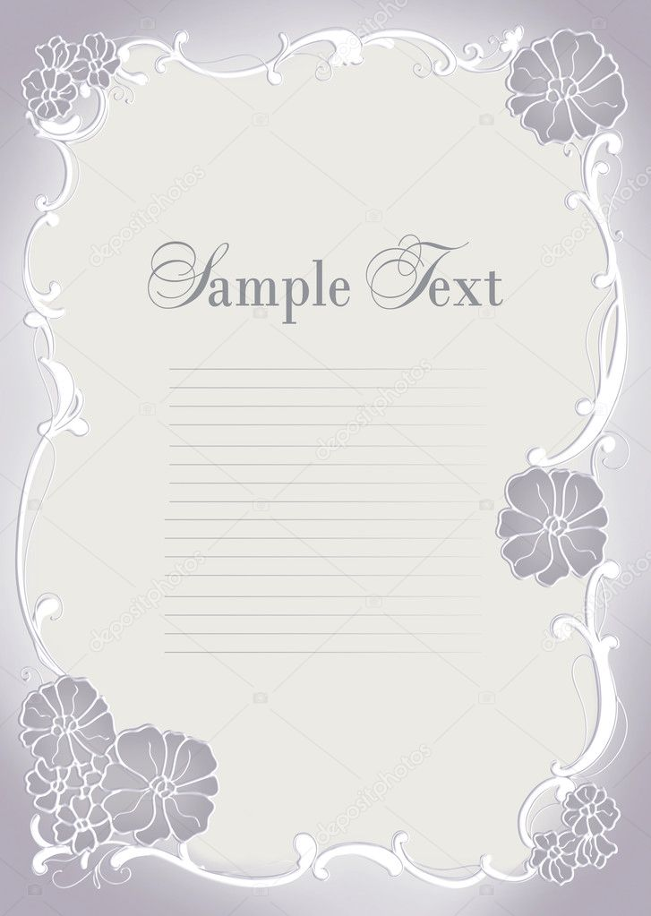 cute wedding invitation card with flowers ornament frame photo by art321