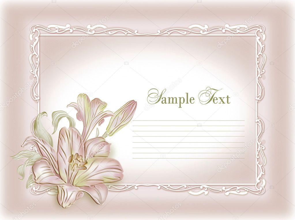 Cute Wedding Invitation Card With Flowers Ornament Frame U2014 Photo By Art321