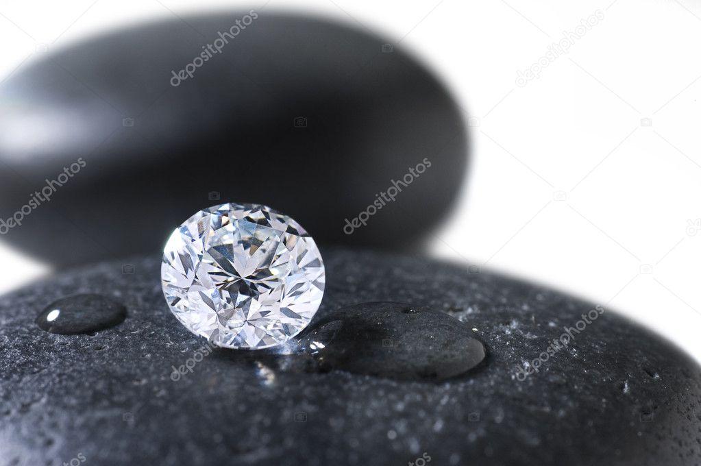 Diamond on the black stone