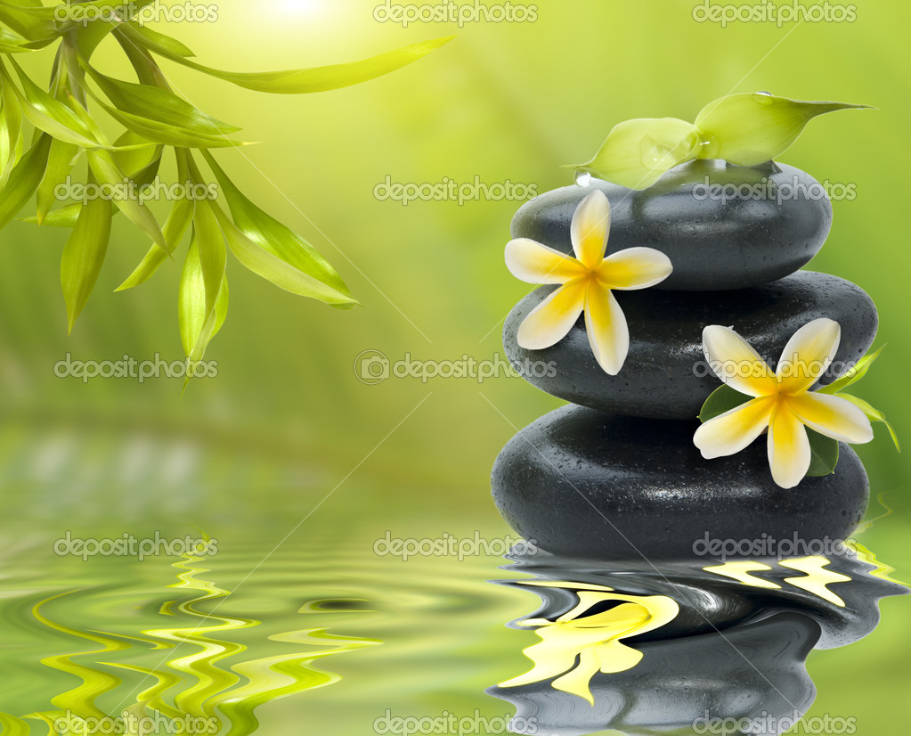 Spa still life, with yellow flowers on the black stones and bamb