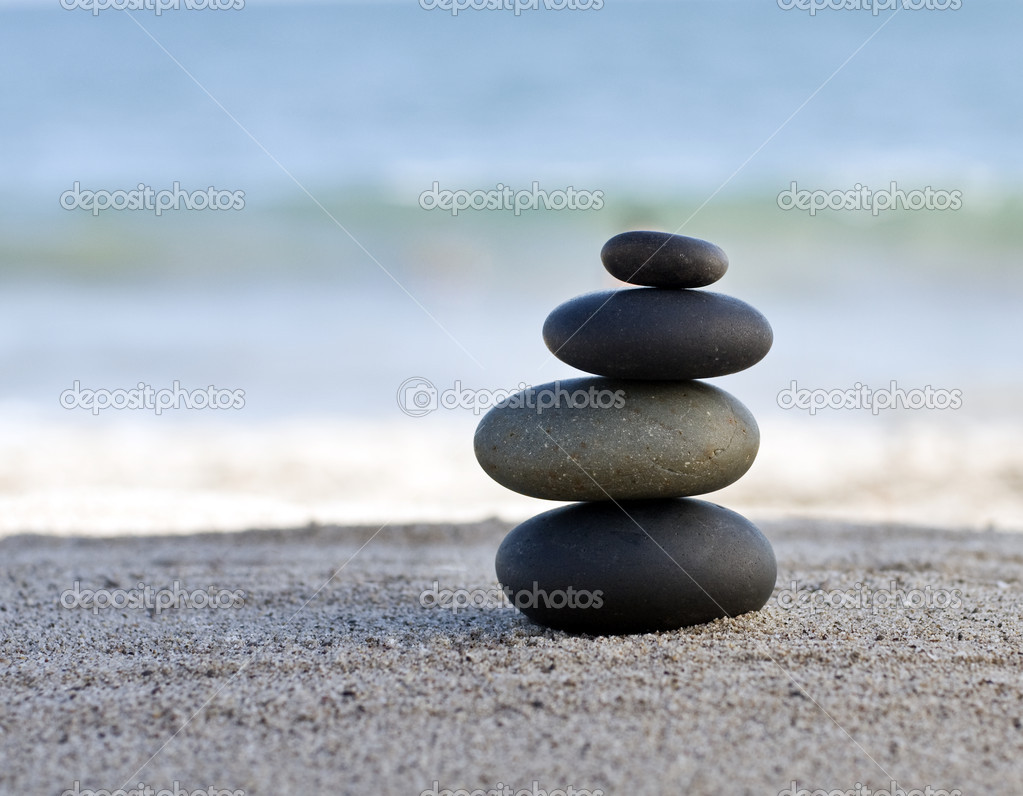 Zen style stones by the ocean. Shallow depth of field