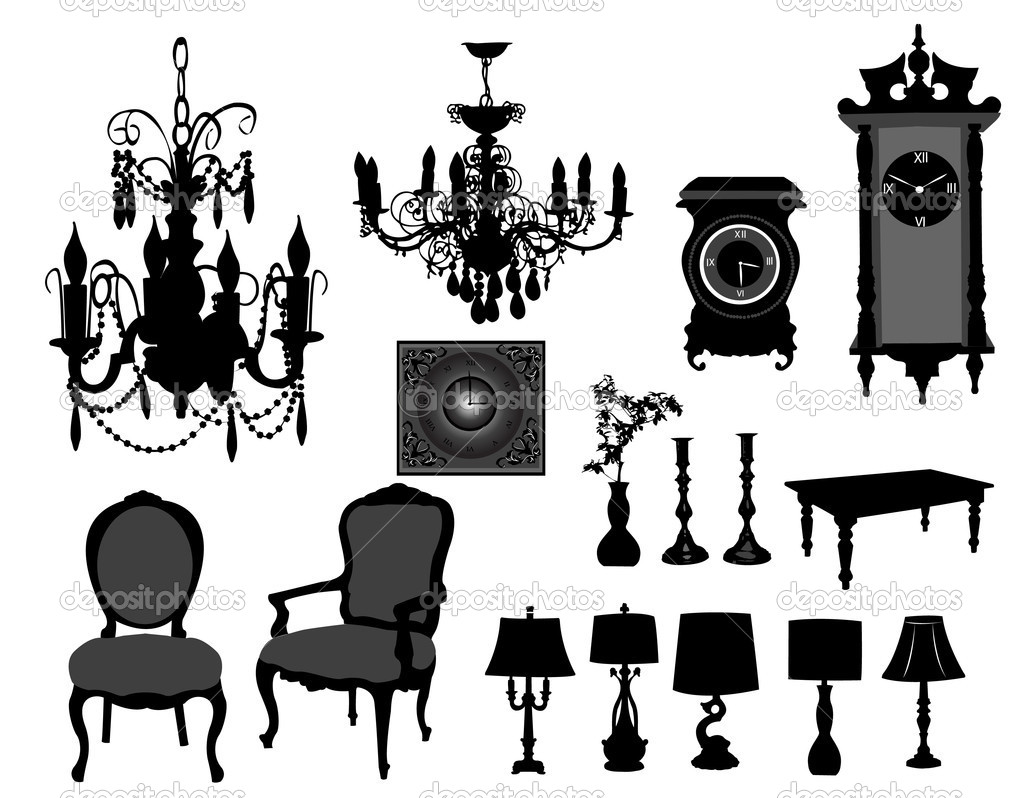 Antique chair silhouette - Antique Furniture On The White Background Vector By Nevena