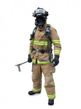 Modern firefighter in gear