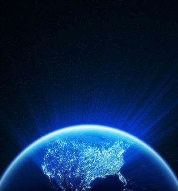 Glowing globe at night , North America