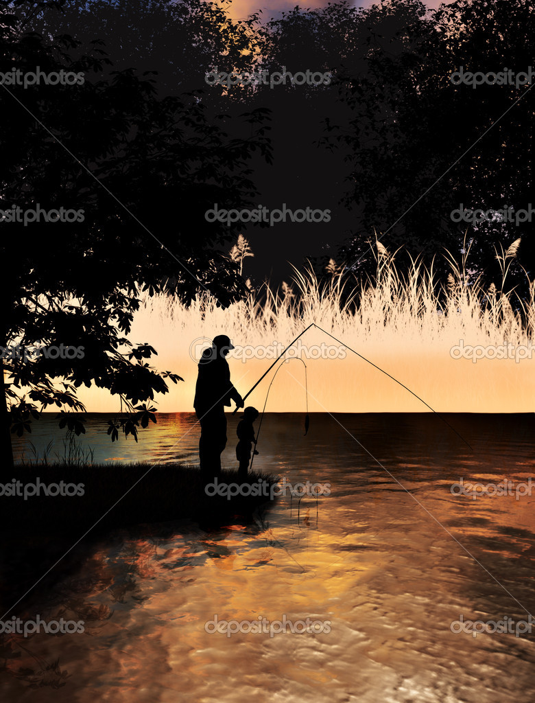 Father and son fishing on lake concept