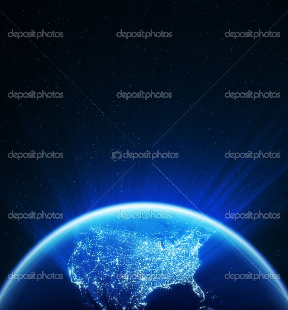 Glowing globe at night , North America
