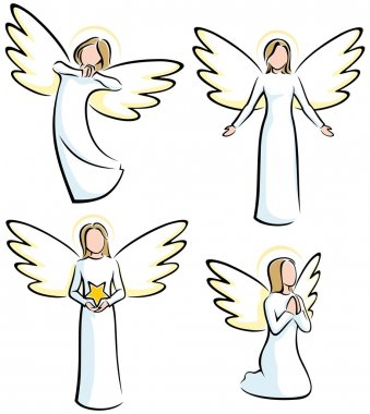 Set of 4 stylized angels. No transparency and gradients used. stock vector