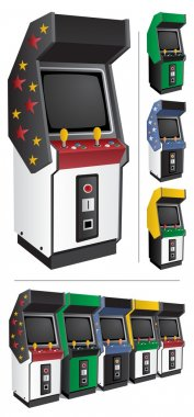 Arcade game machine in 4 different color versions. They can be placed side by side, like those at the bottom of the picture. stock vector