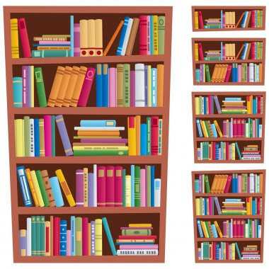 Cartoon illustration of a bookshelf in 5 different versions. No transparency used. Basic (linear) gradients used. clip art vector