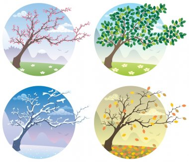 Cartoon illustration of a tree during the four seasons. No transparency used. Basic (linear) gradients. stock vector