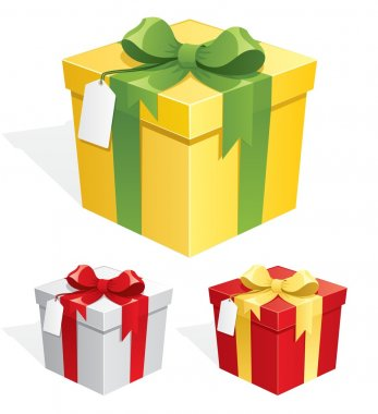 A gift box in 3 color versions. No transparency used. Basic (linear) gradients used. clip art vector