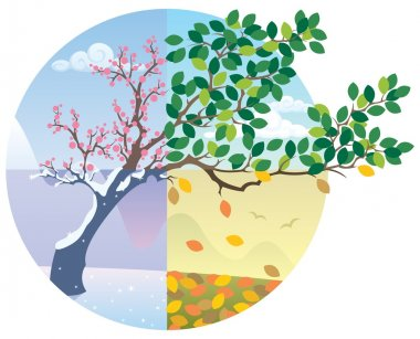 Cartoon illustration representing the cycle of the four seasons. No transparency used. Basic (linear) gradients. stock vector
