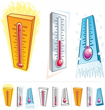 A thermometer in 3 different thermal conditions. Below are 3 additional versions of it. No transparency used. clip art vector