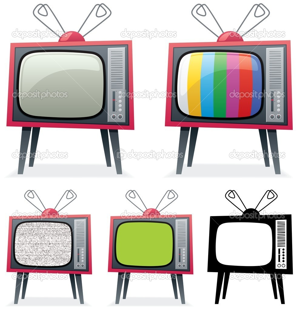 retro tv illustration. cartoon illustration of a retro tv in 5 different versions. you can replace the green screen on 4-th with your own picture. no transparency used. tv e