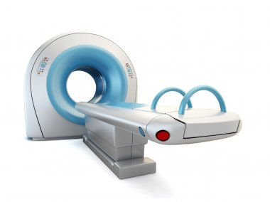 MRI scanner, isolated on white background.