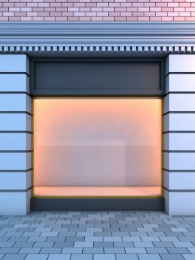 Classical empty storefront .