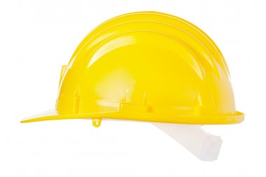 Yellow helmet isolated on white background, clipping path included stock vector