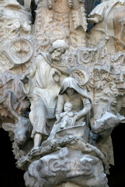 The Holly Family- architectural details on La Sagrada Familia (Barcelona, S