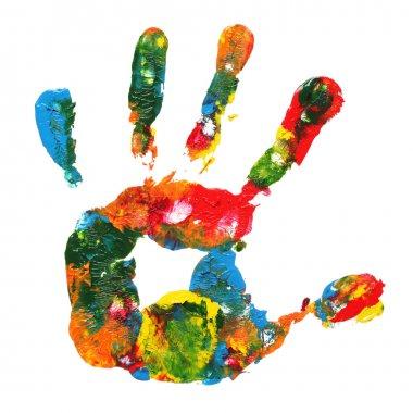 Multicolored hand print stock vector