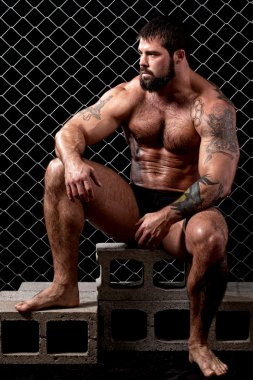 Bodybuilder posing in front of chain link.