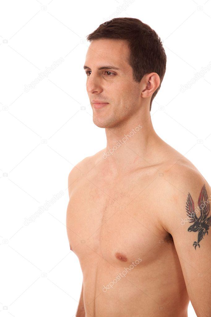 917d38ed336c5 Shirtless man, upper body. Studio shot over white. — Stock Photo ...