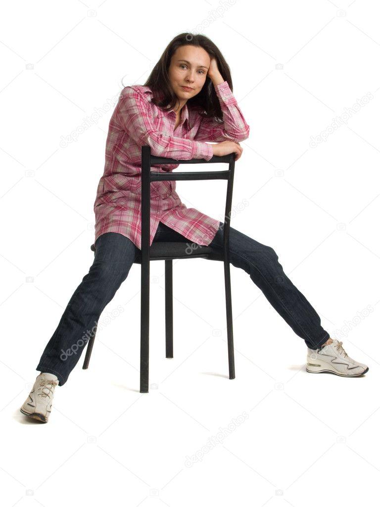 Mujer Sentada En Una Silla Al Rev 233 S Foto De Stock