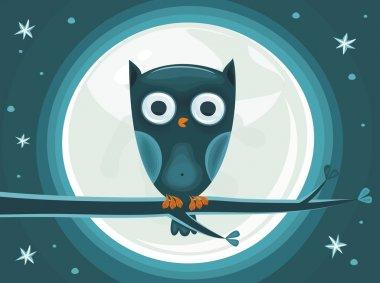 Cute Owl against the moon