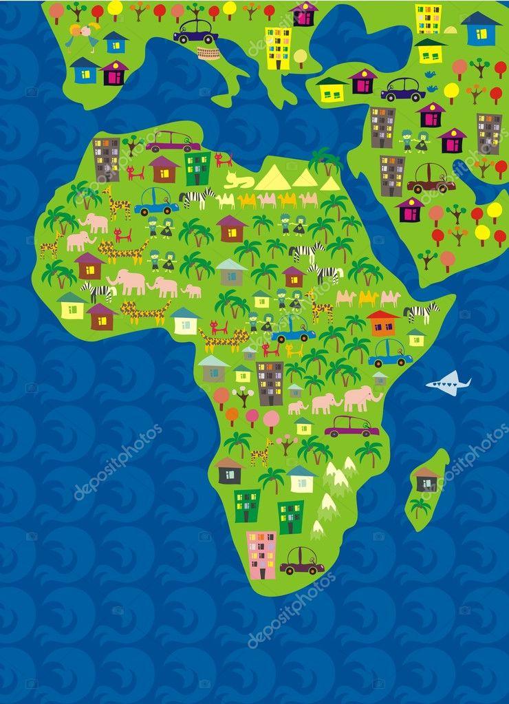 Cartoon Map Of Africa Stock Vector C Anastasiiaku 6561515