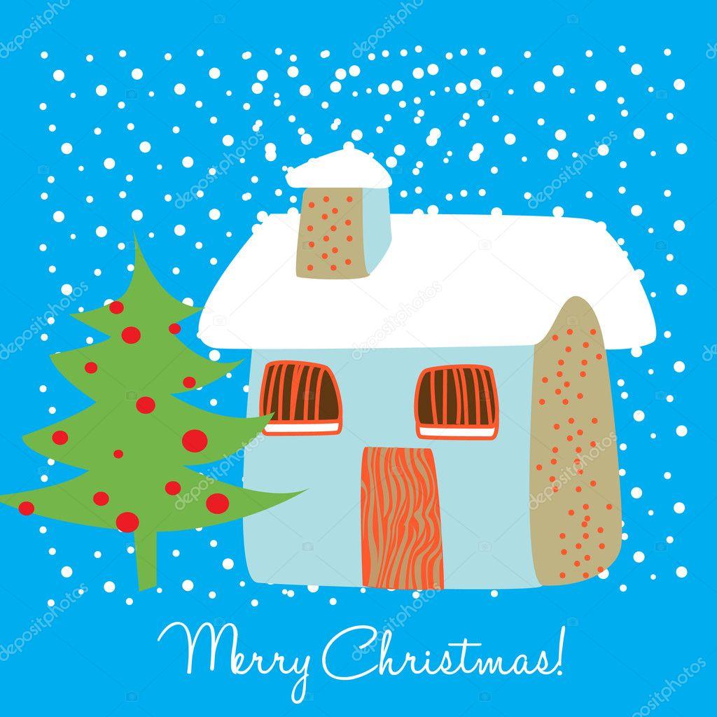 haus im schnee weihnachtskarte — Stockvektor © corneliap #6539921