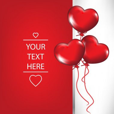 valentine card with heart shaped balloons